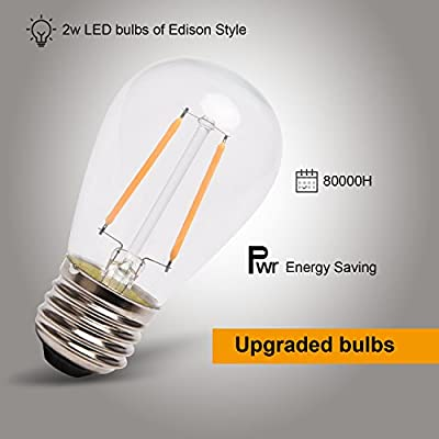 JACKYLED Outdoor String Lights LED Dimmable Commercial Grade UL Certified- 48 Ft Heavy Duty Cord 18 Sockets 19 x 2 Watt LED Bulbs (1 Spare) Edison lights Vintage Weatherproof for Patio Backyard