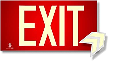 Photoluminescent Exit Sign Red - Code Approved Aluminum UL 924/IBC 2012/NFPA 101 2012