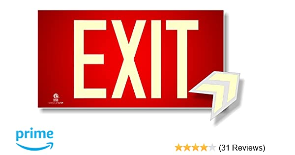 Photoluminescent Exit Sign Red - Aluminum Code Approved UL