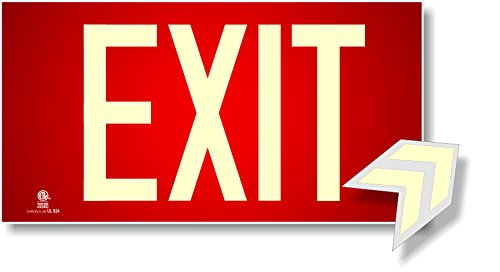 Photoluminescent Exit Sign Red - Aluminum Code Approved UL 924 / IBC/NFPA 101 ()