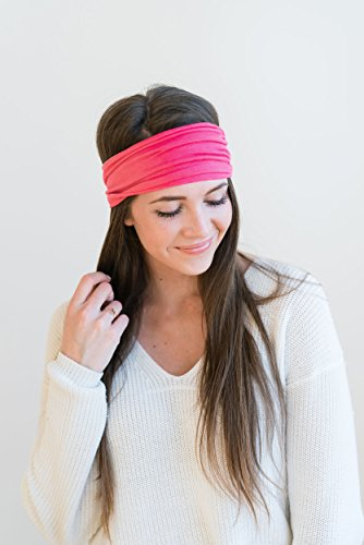 Maven Thread Women's Headband Yoga Running Exercise Sports Workout Athletic Gym Wide Sweat Wicking Stretchy No Slip 2 Pack Set Hot Pink SIREN by by Maven Thread (Image #4)