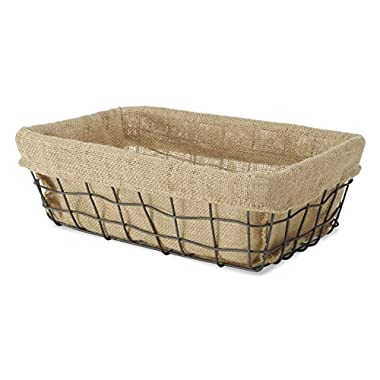 Whitmor Burlap Lined Wire Basket, Small