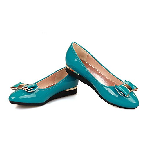 AmoonyFashion Womens Closed Pointed Toe Low Heel Square Heels PU Solid Pumps with Bowknot and Metal Blue iMOGsF3NCL