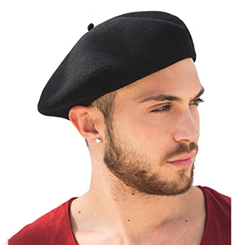 Laulhére Basque Authentique French Wool Beret Black Large