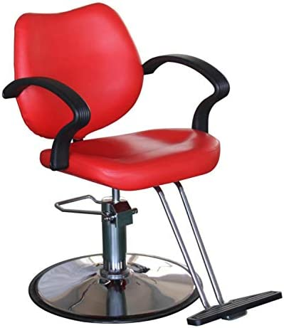 Salon Style Tattoo Spa Beauty Equipment Barber Chair Styling Chair Hydraulic Heavy Duty Leather Swivel Classic Hair Salon Chair for Hair Stylist Women Man,Red