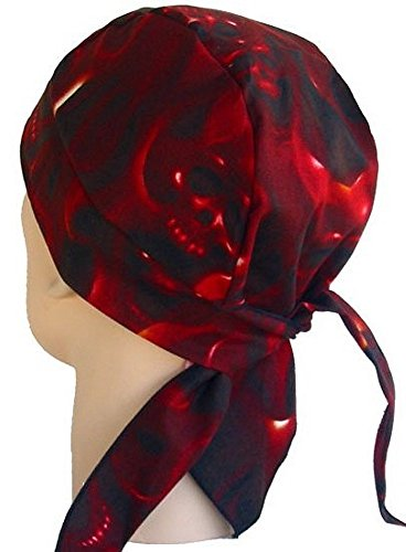 Sparkling Earth Skull Cap Biker Caps Headwraps Doo Rags - Ghost Skulls/Red