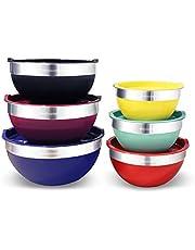 Elite Gourmet EBS-0012 Maxi-Matic 12-Piece Stainless Steel Colored Mixing Bowls with Lids, 7.25 Qt. - 6 Qt. – 3.5 Qt. – 3 Qt. – 2.25 Qt. – 2 Qt.