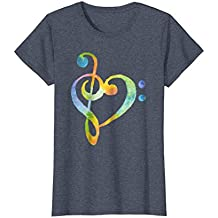 Watercolor Rainbow Heart Bass Clef T-Shirt Musical Note Tee