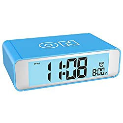 BMK Digital Alarm Clock for Bedrooms Home Travel, Bedside Alarm Clock Battery Opearted Childrens Alarm Clock Silent Snooze and Touch Sensor Nightlight Clocks