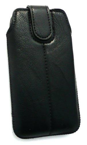 Emartbuy® Eingabestift Pack Für Apple Iphone 5 5s Schwarz Pu-Leder Secured Slide In Pouch / Case / Sleeve / Holder (Größe 1) Mit Pull Tab Mechanism + Metallic Mini Schwarz Eingabestift + Lcd Displaysc