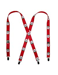 CTM® Elastic Christmas Santa Claus Face Holiday Clip End Suspenders, Red
