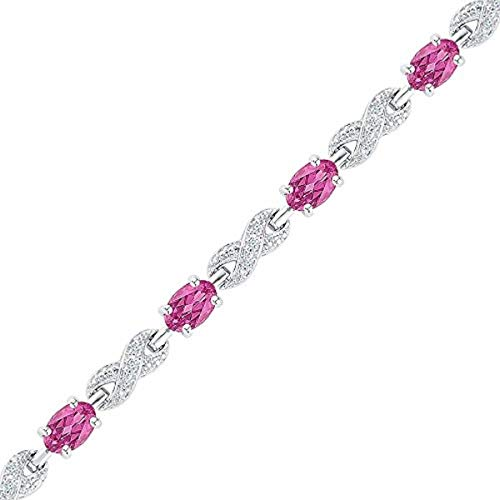 - Roy Rose Jewelry Sterling Silver Womens Oval Lab-Created Pink Sapphire Fashion Bracelet 5-1/4-Carat tw