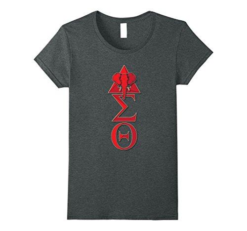 Womens Elephant Delta Triangle Sigma Red Theta T-Shirt 2 Small Dark (Delta Elephant)