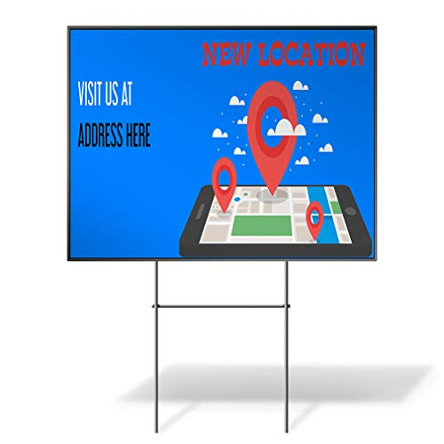 Custom Personalized Yard Sign New Location Visit Us Address map Red Two Sides Print 24inx18in
