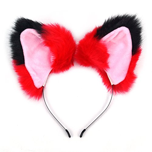 (Ears Headband Cat Fox Kitten Fur Ears Hair Bands Anime Party Costume Kitty Cosplay Headband for Halloween Christmas Kitten Theme Party Costume (Black and Red-2))