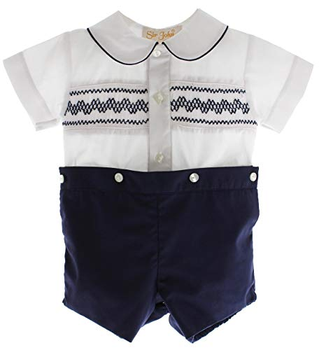 Suit Bobby (Rosalina Boys Smocked Bobbie Suit Navy White Dressy Fall Outfit 24M)