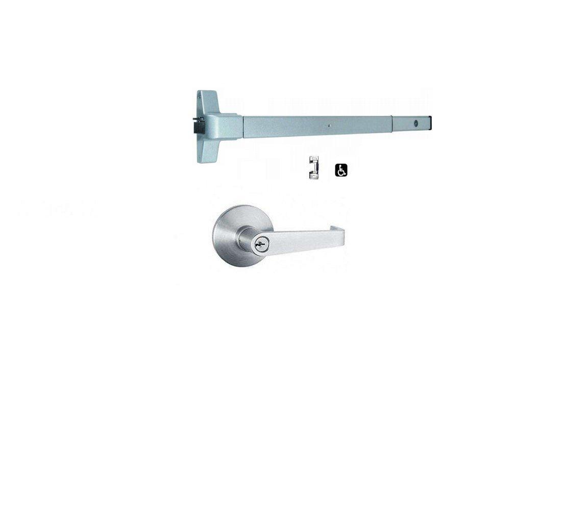 Global Door Controls Push Bar Panic Exit Device Aluminum, With Exterior Lever Trim (Aluminum) by Global Door Control (Image #1)