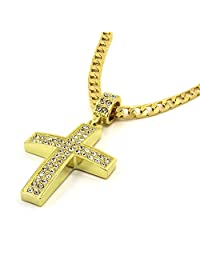 """CS-DB 14K Gold Real 14k Gold Filled Fully Cz Cross Pendant Hip-Hop 24"""" Cuban Necklace Chain Mens Womens Ladies"""