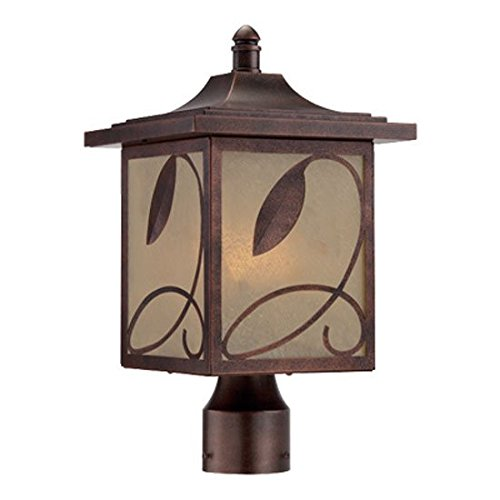 Designers Fountain 22236-FC Post Lantern, Flemish Copper Finish with Ochere Shade by Designers Fountain