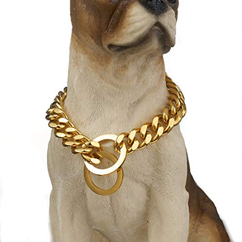 Aiyidi Dog Collar Silver Gold Plated 316L Stainless Steel Cuban Curb Link Chain Pet Dog Necklace (Gold, 20inches)