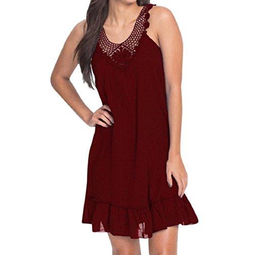 GONKOMA Women Summer Sleeveless Casual Mini Tank Dress Loose Lace Patchwork Swing T-Shirt Vest Dresses (S, Wine)