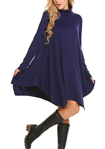 Batwing Sleeve Cowl Neck Irregular Hem Swing Cotton Knitted Casual Tunic Dress(Navy Blue,S) ()