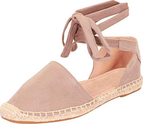Cambridge Select Women's Closed Toe Crisscross Ankle Tie Espadrille Flat,7.5 B(M) US,Dark Clay IMSU