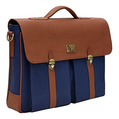 Rivet Men's Laptop Bag One Size Blue & Tan by Rivet