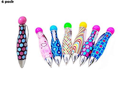 6 pack super big fat pen with clip good grip mini cute ballpoint pen blue ink 0.5mm tip novelty pen gift for kids -