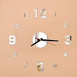 YJYdada Decoration Clock, Fashion Acrylic DIY Self Adhesive Interior Wall Creative Decoration Clock (Silver)