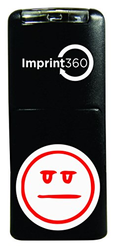 Imprint 360 AS-IMP2007 Teacher Stamp - Straight Face Smily Face, Red Ink, Durable, Light Weight Self-Inking Stamp, 5/8'' Impression Area by Imprint 360 (Image #1)