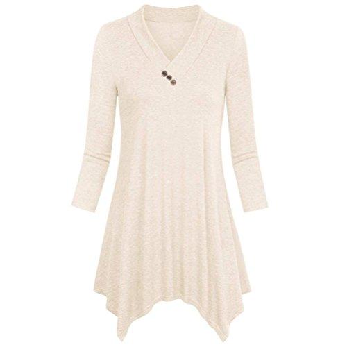 Top for Women Loose Asymmetrical Vneck Shirt 3/4 Sleeve Blouse Prom ()