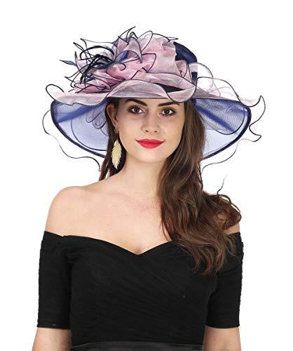 46b3e838e0f75 SAFERIN Women s Organza Church Kentucky Derby Fascinator Bridal Tea Party Wedding  Hat (2867-Navy