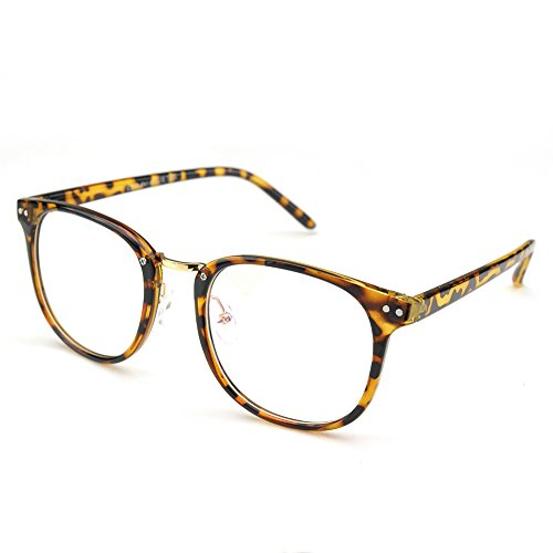 PenSee Womens Fashion Oversized Clear Lens Round Circle Eye Glasses (Leopard(Plastic legs))