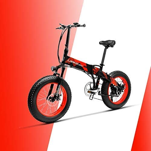 LANKELEISI X2000 20 × 4.0 Inch Big Tire 48V 1000W 12.8AH Fat Tire Aluminum Alloy Frame Pull Electric Bike Foldable for Adult Female/Male for Mountain/Beach/Snow E-Bike