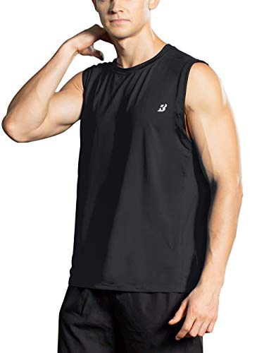 (Roadbox Men's Performance Sleeveless Shirts Quick Dry Workout Athletic T Shirts Running, Basketball and Gym Tank Tops Black)