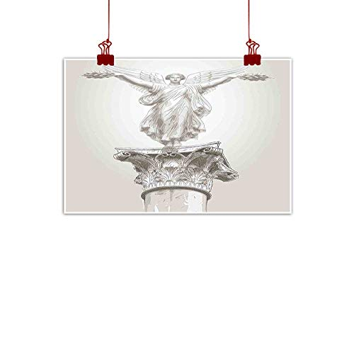 Outdoor Nature Inspiration Poster Wilderness Sculptures,Angel Greek Figure Muse Statue on Neoclassic Pillars Mythology Ancient Relic Print,White 36