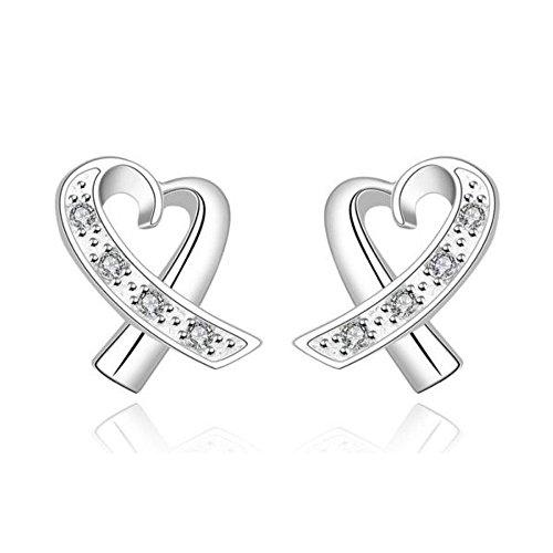 Boucles d'oreilles coeur cristaux swarovski elements argent 925