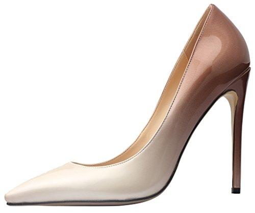 Calaier Gradient brun Cause sur Aiguille Femme Escarpins Chaussures 12CM Glisser 8zHq8rn