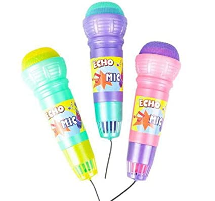 """LOT OF 6 10/"""" PLASTIC ECHO MICROPHONE PLAY TOY KARAOKE VIBRATE VOICE CHANGE"""