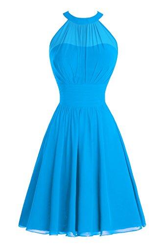 Dress Women's Blue Short Bridesmaid Length Bridal Ruched Party Knee Halter Prom Ocean Bess v1q451