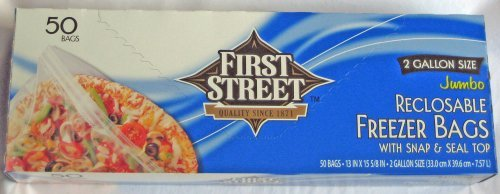 First Street Jumbo 2-Gallon Reclosable Freezer Bags with Snap and Seal Zip Lock Top, 13