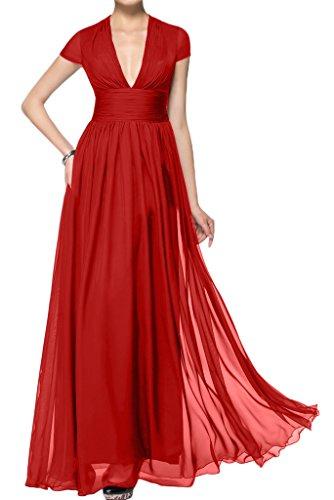ivyd ressing Mujer corta aermel V de pico largo línea A Prom vestido Fiesta Vestido para vestido de noche Rojo