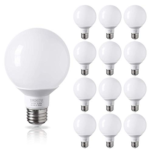 TORCHSTAR 12-Pack G25 Globe led Bulb, Vanity Light, 5W (40W Eqv.), UL-Listed, - With Mirrors Led Bulbs Bathroom Light