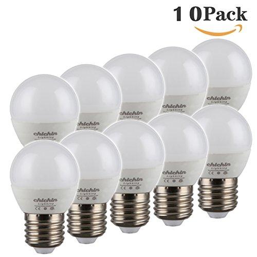 ChiChinLighting 5w G14 LED Globe Bulbs 10 Pack E26 E27 Base Mirror Vanity Light Bulbs 40 Watt Equivalent Daylight White