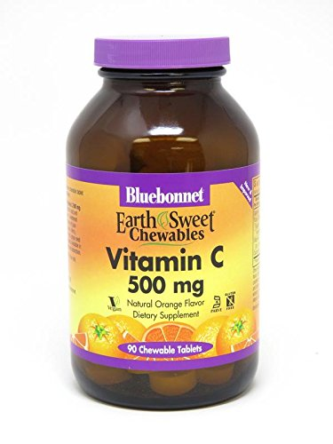 Bluebonnet Earth Sweet Vitamin C 500 mg Chewable Tablets, Orange, 90 Count