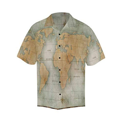 InterestPrint Loose Fit Short Sleeve Old Nautical World Map Print Casual Shirts Short Sleeve Top XXL