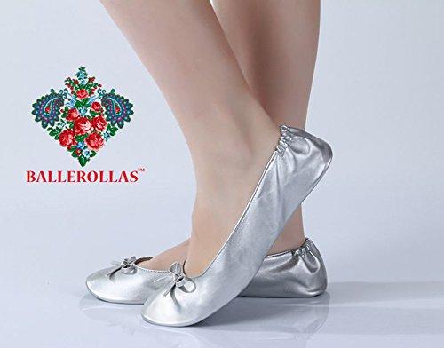 BALLEROLLAS Faltbare Ballerinas Afterparty Schuhe - Wechselschuhe, Kunstleder, Silber Gr. 36