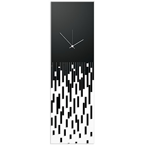 (Metal Art Studio Surreal Wall Clock 'Black Pixelated Clock-White Hands' by Adam Schwoeppe - Techy Style Decor Abstract Accent Piece on Acrylic)