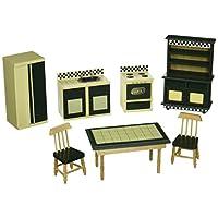 Muebles de cocina Melissa & Doug Doll-House (juego de 7), amarillo mantequilla /verde oscuro
